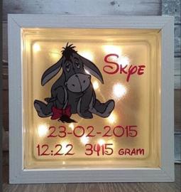 Decoratie glasblok met verlichting geboortekaartje Igor - Prijs vanaf
