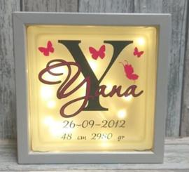 Decoratie glasblok met verlichting geboortekaartje 7 - Prijs vanaf