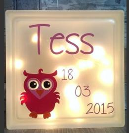 Decoratie glasblok met verlichting geboortekaartje 25 - Prijs vanaf
