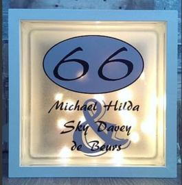 Glasblok met verlichting huisnummer glasblok - Prijs vanaf