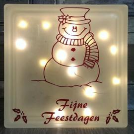 Decoratie glasblok met verlichting Sneeuwpop Fijne Feestdagen - Prijs vanaf