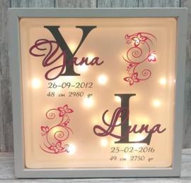 Decoratie glasblok met verlichting geboortekaartje 8 - Prijs vanaf