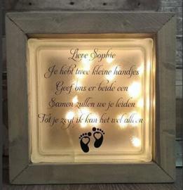 Glasblok met verlichting 2 kleine handjes - Prijs vanaf