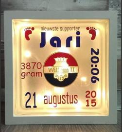 Decoratie glasblok met verlichting geboortekaartje 22 - Prijs vanaf