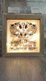 Decoratie glasblok met verlichting Mr&Mrs 2 - Prijs vanaf