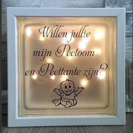 Glasblok met verlichting peetoom peettante - Prijs vanaf