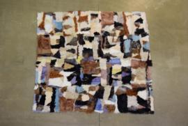 Toscaans schapenvachttapijt  patchwork  gekleurd  190 cm x  210 cm