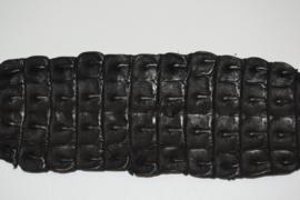 Krokodillenleder backstraps zwart.
