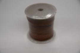 Leder plat lint 3 mm suede bruin.