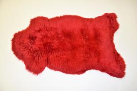 Gekleurde schapenvacht rood.
