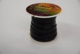 Rol plat leder lint 3,2 mm zwart.