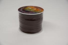 Rol plat kalf leder lint 3 mm bruin.