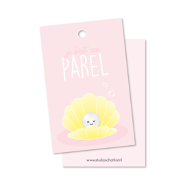 Kadolabel | je bent een parel, roze