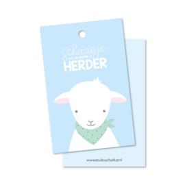 SCHAAPJE van de goede Herder (blauw) | christelijke kadolabels