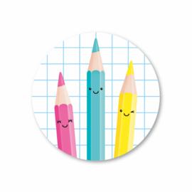 drie kleurpotloden (ruit) | 5 ronde stickers