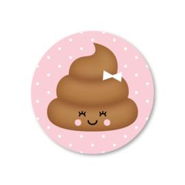 poepie (roze) | 5 ronde stickers