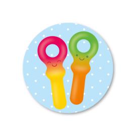 snoepsleutels | 5 ronde stickers