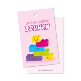 Lego | laten we een feestje BOUWEN (roze) | kadolabels