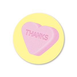 (vruchtenhartje) thanks | 5 ronde stickers