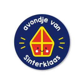 avondje van Sinterklaas | 5 ronde sinterklaasstickers