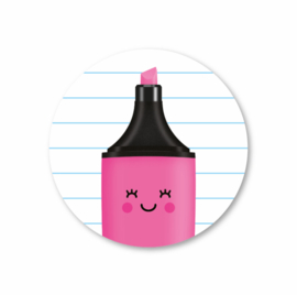 roze markeerstift | 5 ronde stickers