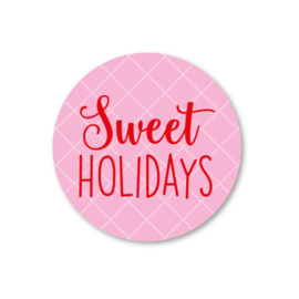 sweet holidays   5 ronde kerststickers