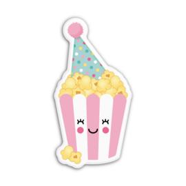 popcorn met feesthoedje | magneet