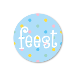 feest | 5 ronde stickers