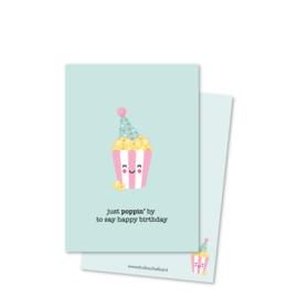 just POPPIN' by to say happy birthday (kleine afbeelding) | kaarten