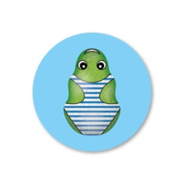 groene kikker | 5 ronde sinterklaasstickers