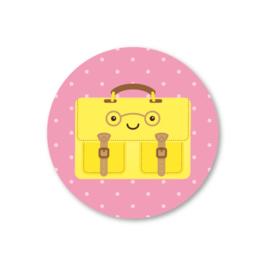 gele aktetas | 5 ronde stickers