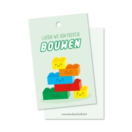 Lego | laten we een BOUWEN (groen) | kadolabels