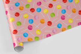 lolly's met roze achtergrond (5 vellen) | inpakpapier