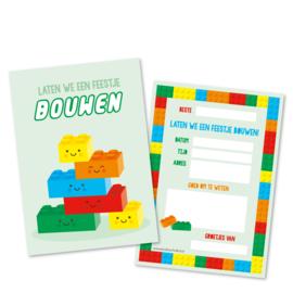 Lego | laten we een feestje BOUWEN (groen) | uitnodigingskaarten