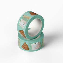Washitape met toiletpapier, lege wc-rollen en drolletjes