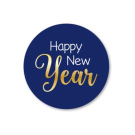 happy new year   5 ronde kerststickers