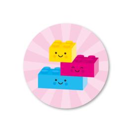 Legoblokjes (roze) | 5 ronde stickers