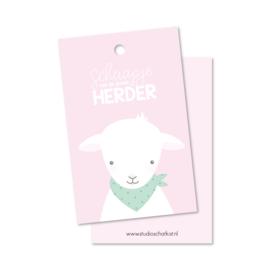 Kadolabel | schaapje van de goede Herder, roze