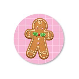 gingerbread man | 5 ronde kerststickers