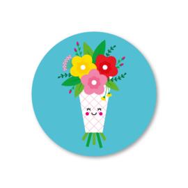 bosje bloemen | 5 ronde stickers