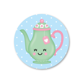 theepot | 5 ronde stickers