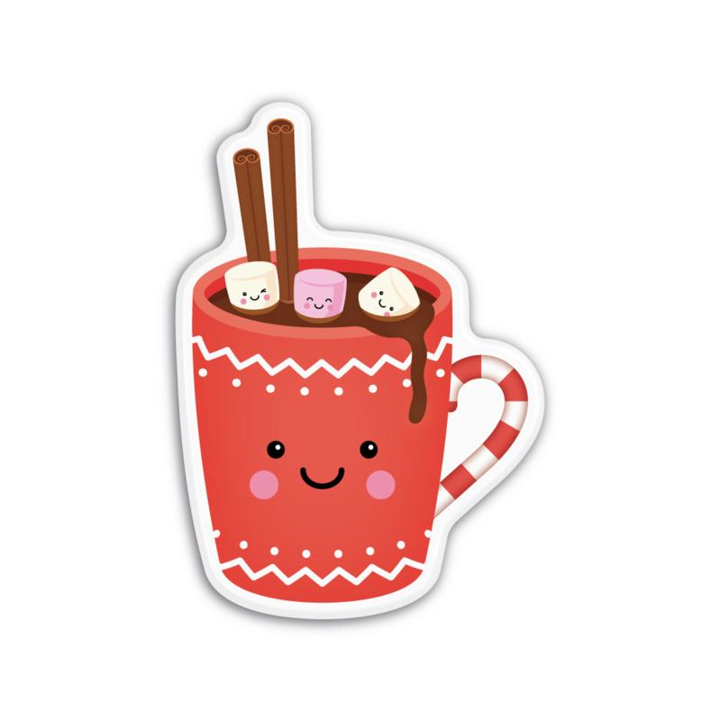 mok met warme chocolademelk en marshmallows | magneet