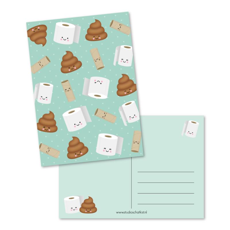 kaart met een patroon van toiletpapier, lege wc-rollen en drolletjes | kaarten