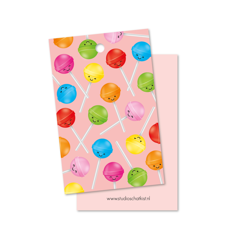 Kadolabel | patroon lolly's, roze