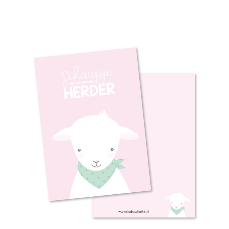 SCHAAPJE van de goede Herder (roze) | christelijke kaarten
