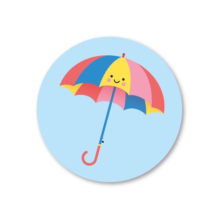 aju paraplu   5 ronde stickers