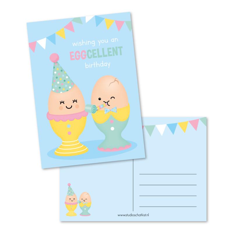 wishing you an EGGcellent birthday | kaarten