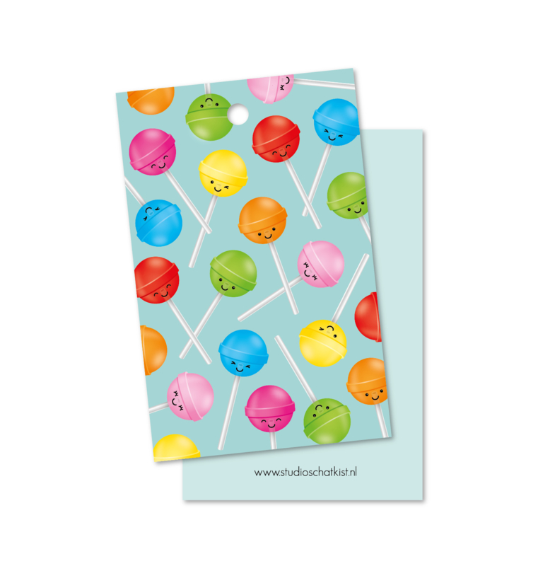 Kadolabel | patroon lolly's, mint