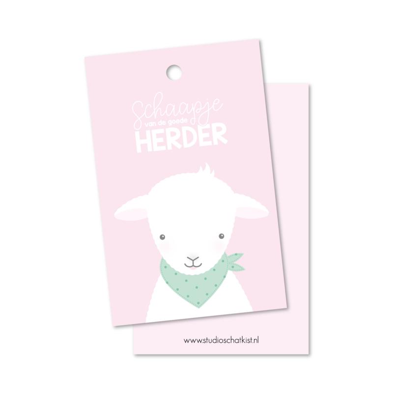 SCHAAPJE van de goede Herder (roze)   christelijke kadolabels