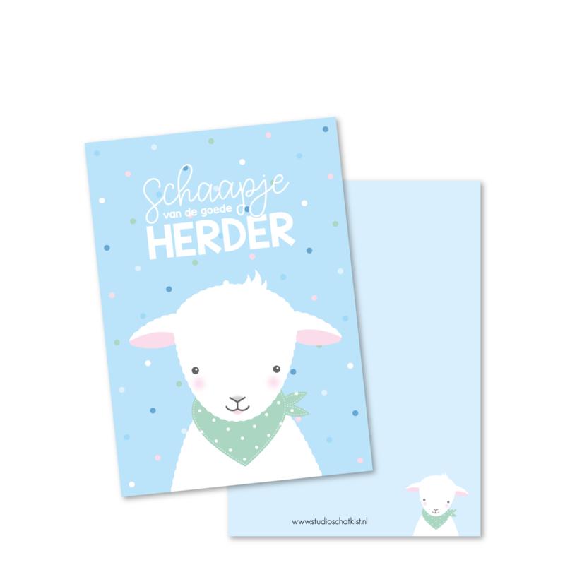SCHAAPJE van de goede Herder (blauw) | christelijke kaarten